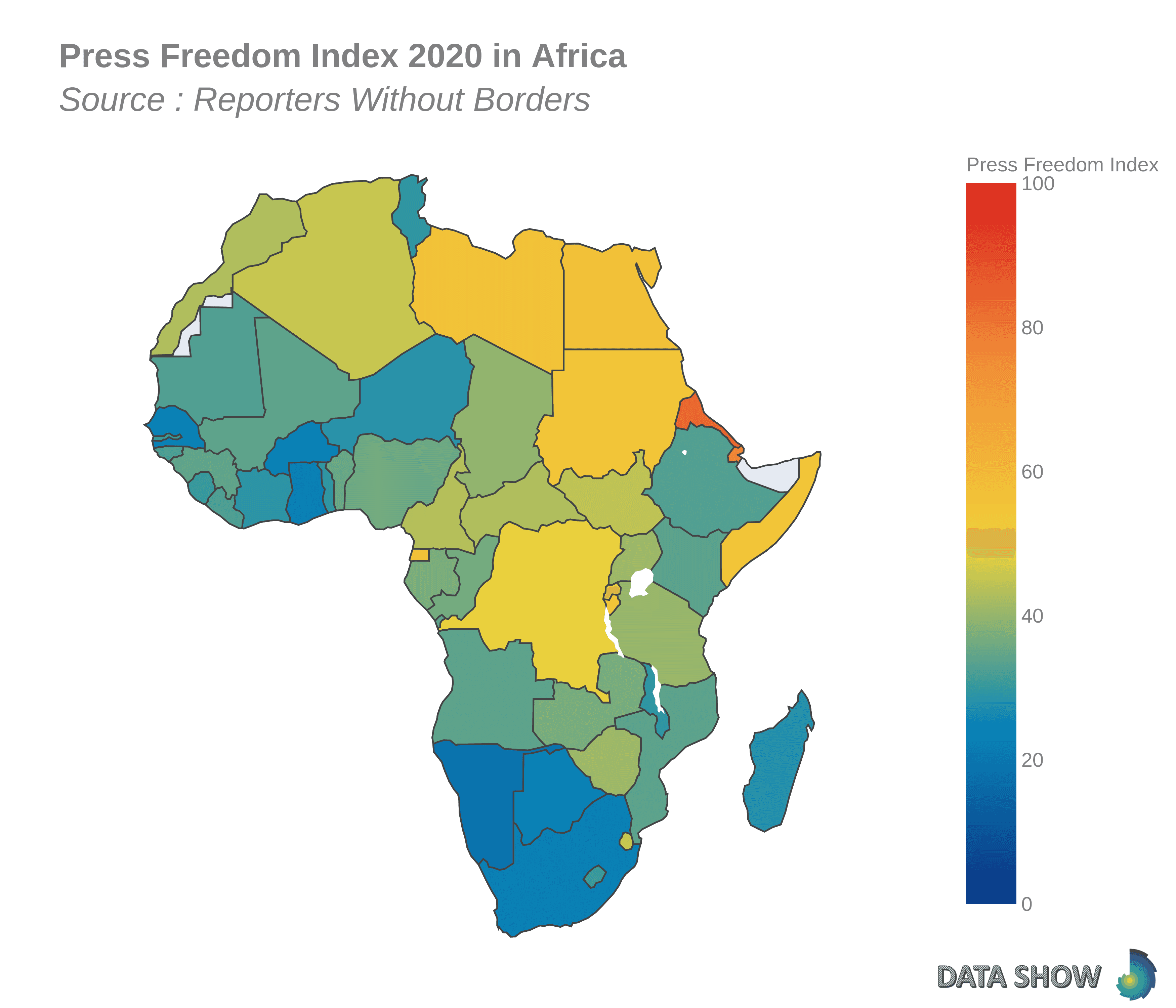 Press Freedom Index 2020 in Africa