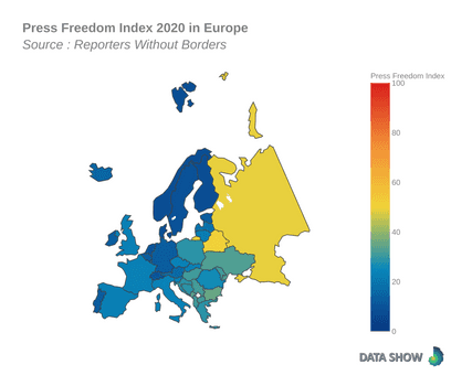Press Freedom Index 2020 in Europe