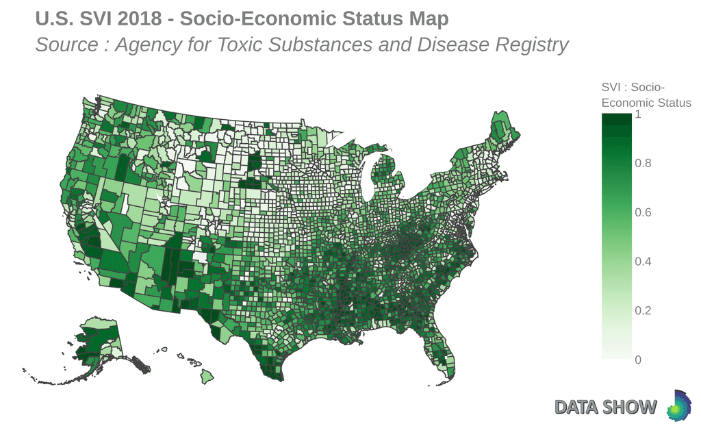 Social Vulnerability Index 2018 - Socio-Economic Status Map