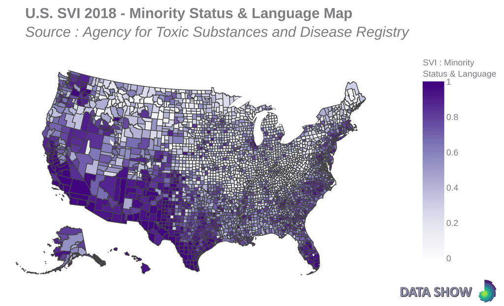 Social Vulnerability Index 2018 - Minority Status & Language Map
