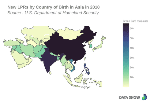 Persons Obtaining Lawful Permanent Resident Status by Country of Birth in Asia in 2018 - Map