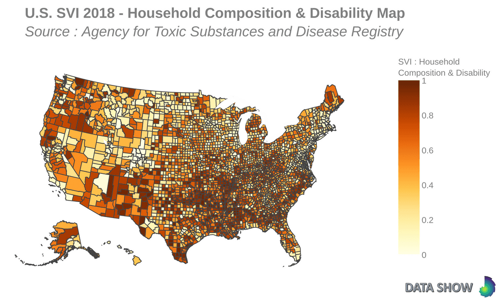 Social Vulnerability Index 2018 - Household Composition & Disability Map