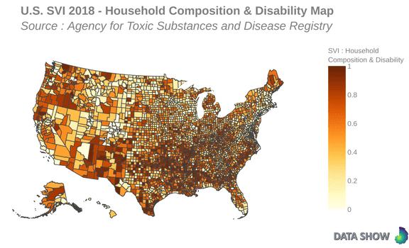 U.S. Social Vulnerability Index 2018 : Household Composition & Disability Map