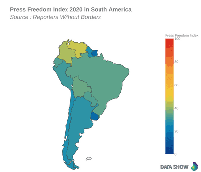 Press Freedom Index 2020 in South America