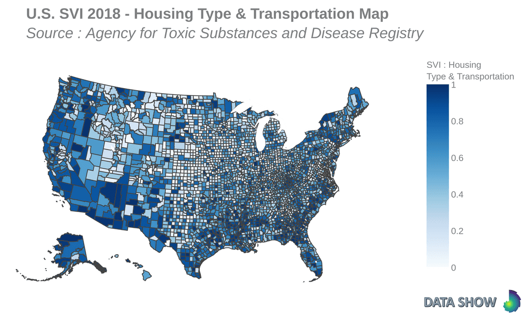 Social Vulnerability Index 2018 - Housing Type & Transportation Map
