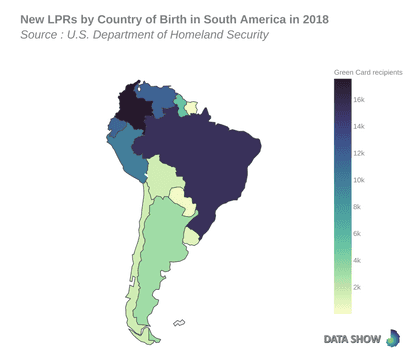 Persons Obtaining Lawful Permanent Resident Status by Country of Birth in South America in 2018 - Map